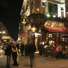 British pub at night