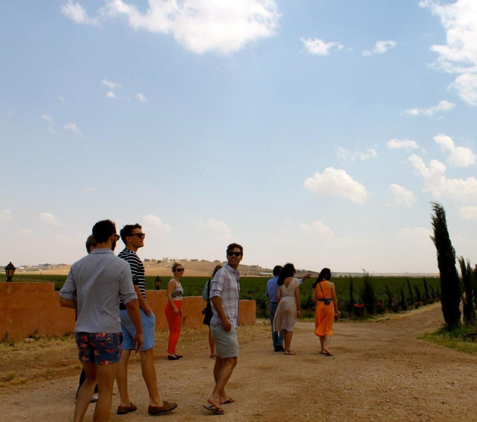 Walking in vineyard Jordan - Jordan: An unlikely winery visit